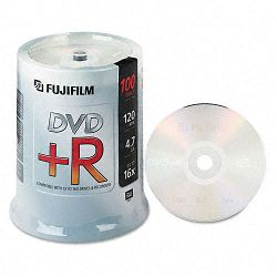 DVD+R Discs 4.7GB 16x Spindle Silver Pack of 100 (FUJ25303100)