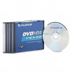 DVD-RW Discs 4.7GB 2x with Jewel Cases Silver Pack of 5 (FUJ25322005)