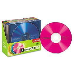CD-R Discs 700MB80min 40x with Slim Jewel Cases Assorted Neon Pack of 10 (IMN15794)