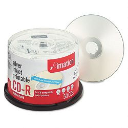 Printable CD-R Discs 700MB80min 52x Spindle Silver Pack of 50 (IMN17036)