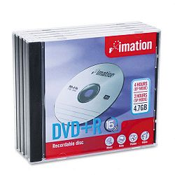 DVD+R Discs 4.7GB 16x with Jewel Cases Silver Pack of 5 (IMN17193)