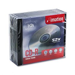 CD-R Discs 700MB80min 52x with Jewel Cases Silver Pack of 5 (IMN17284)