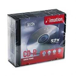 CD-R Discs 700MB80min 52x with Slim Jewel Cases Silver Pack of 10 (IMN17332)