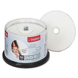 Inkjet Printable DVD-R Discs 4.7GB 16x Spindle White Pack of 50 (IMN17350)