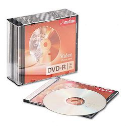 DVD-R Discs 4.7GB 16x Slim Jewel Cases Silver Pack of 10 (IMN17619)