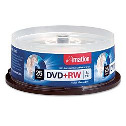 DVD+RW Discs 4.7GB 8x Spindle Silver Pack of 25 (IMN27134)