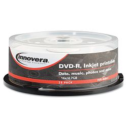 DVD-R Discs Hub Printable 4.7GB 16x Spindle Matte White Pack of 25 (IVR46841)