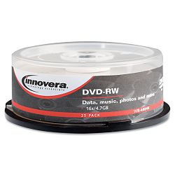 DVD-RW Discs 4.7GB 4x Spindle Silver Pack of 25 (IVR46848)