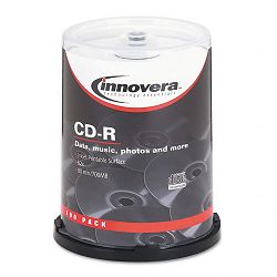 CD-R Discs Hub Printable 700MB80min 52x Spindle Matte White Pack of 100 (IVR77815)