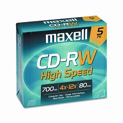CD-RW Discs 700MB80min 12x with Jewel Cases Gold Pack of 5 (MAX630025)