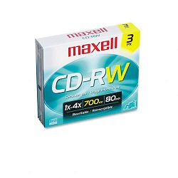 CD-RW Discs 700MB80min 4x with Slim Jewel Cases Silver Pack of 3 (MAX630030)