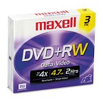 DVD+RW Discs 4.7GB 4x with Jewel Cases Silver Pack of 3 (MAX634043)