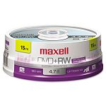 DVD+RW Discs 4.7GB 4x Spindle Silver Pack of 15 (MAX634046)