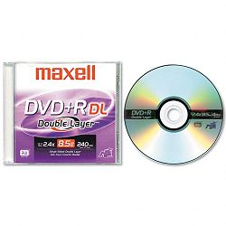 Dual-Layer DVD+R Disc 8.5GB 2.4x with Jewel Case Silver (MAX634080)