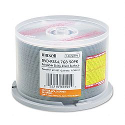 DVD-R Discs 4.7GB 8x Spindle Shiny Silver Pack of 50 (MAX635127)