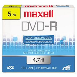 DVD-R Discs 4.7GB 16x with Jewel Cases Gold Pack of 5 (MAX638002)