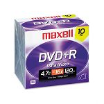 DVD+R Discs 4.7GB 16x with Jewel Cases Silver Pack of 10 (MAX639005)