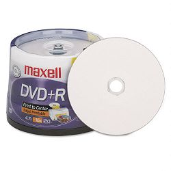 Inkjet Printable DVD+R Discs 4.7GB 16x Spindle White Pack of 50 (MAX639022)