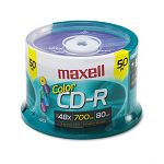 CD-R Discs 700MB80min 48x Spindle Assorted Colors Pack of 50 (MAX648251)