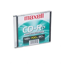 CD-R Disc 700MB80min 48x with Slim Jewel Case Printable Matte Silver (MAX648711)