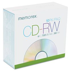 CD-RW Discs 700MB80min 4x with Slim Jewel Cases Silver Pack of 10 (MEM03408)