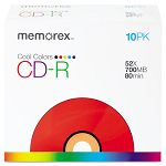CD-R Discs 700MB80min 52x Slim Jewel Cases Cool Colors Pack of 10 (MEM04601)