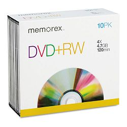 DVD+RW Discs 4.7GB 4x with Jewel Cases Pack of 10 (MEM05509)