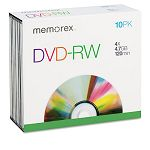 DVD-RW Discs 4.7GB 2x with Slim Jewel Cases Silver Pack of 10 (MEM05512)
