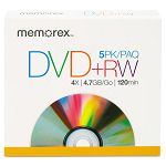 DVD+RW Discs 4.7GB Pack of 5 (MEM05514)