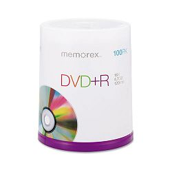 DVD+R Discs 4.7GB 16x Spindle Silver Pack of 100 (MEM05621)