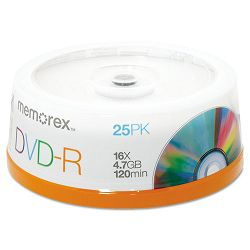 DVD-R Discs 4.7GB 16x Spindle Silver Pack of 25 (MEM05638)