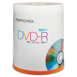 DVD-R Discs 4.7GB 16x Spindle Silver Pack of 100 (MEM05641)