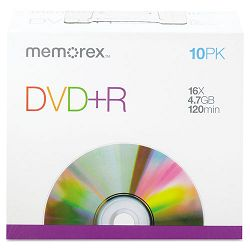 DVD+R Discs 4.7GB 16x with Slim Jewel Cases Silver Pack of 10 (MEM05656)