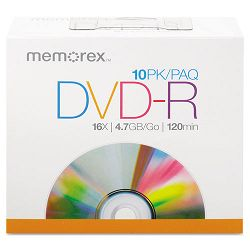 DVD-R Discs 4.7GB 16x with Slim Jewel Case Silver Pack of 10 (MEM05669)