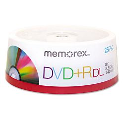 Dual-Layer DVD+R Discs 8.5GB Pack of 25 (MEM05712)