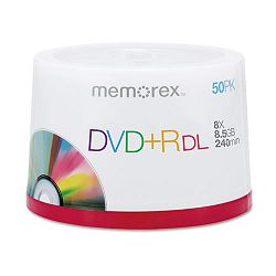 Dual-Layer DVD+R Discs 8.5 GB Pack of 50 (MEM05732)
