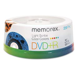 DVD+R Recordable Disc LightScribe 4.7GB Spindle Pack of 25 (MEM97800)