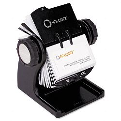 "Wood Tones Open Rotary Business Card File Holds 400 2 58"" x 4"" Cards Black (ROL1734238)"