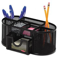 "Mesh Pencil Cup Organizer Four Compartments Steel 9.3"" x 4 12"" x 4"" Black (ROL1746466)"