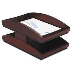 Executive Woodline II Front Loading Letter Desk Tray Two Tier Wood Mahogany (ROL19260)