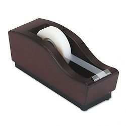 "Executive Woodline II Desktop Tape Dispenser 1"" core Solid Wood Mahogany (ROL19280)"