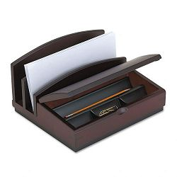 "Desk Organizer Three Sections Wood 10""w x 5 78""d x 8 58""h Mahogany (ROL19290)"
