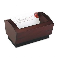 "Executive Woodline II Business Card Holder for 100 2 14"" x 4"" Cards Mahogany (ROL19386)"