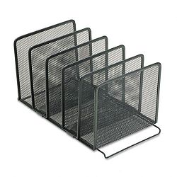 "Mesh Stacking Sorter Five Sections Metal 8 12""w x 14 14""d x 7 12""h Black (ROL22141)"