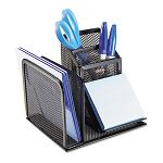 "Wire Mesh Desk Organizer with Pencil Storage 5 34"" x 5 18"" x 5 18"" Black (ROL22171)"