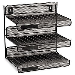 "Mesh Three-Tier Letter Size Desk Shelf 12 12"" x 9 14"" x 12 12"" Black (ROL22341)"