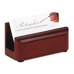 "Wood Tones Business Card Holder Capacity 50 2-14"" x 4"" Cards Mahogany (ROL23330)"