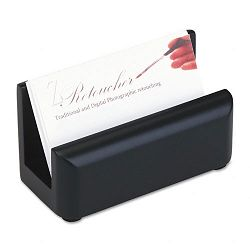 "Wood Tones Business Card Holder Capacity 50 2-14"" x 4"" Cards Black (ROL62522)"