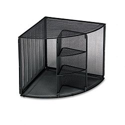 "Mesh Corner Desktop Shelf Five Sections 20"" x 14"" x 13"" Black (ROL62630)"