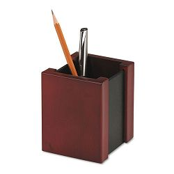 "Wood and Faux Leather Pencil Cup 3 716"" x 3 12"" x 4 18"" BlackMahogany (ROL81764)"